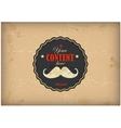 Vintage postcard Mustache label on grunge paper vector image vector image