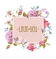 watercolor greeting card with blooming flowers vector image vector image