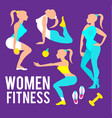 workout fitness girl set heathy lifestyle care vector image vector image