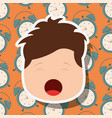young boy face yawning clocks background vector image