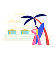 young girl with surf board in hands on sandy beach vector image vector image