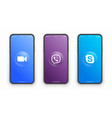 zoom viber skype logo on iphone screen vector image