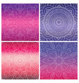 set of cards with indian mandala on bright violet vector image