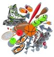 Sporting goods basketball ball sneakers racket vector image