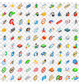 100 successful business icons set isometric style vector image vector image