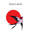 animal world martin red sun background imag vector image