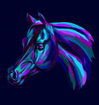 arab horse abstract hand-drawn multicolored port vector image vector image