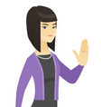 asian business woman showing palm hand vector image vector image