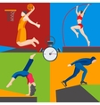 Athletes skater basketball pole vaulting dancer vector image vector image