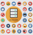 big data database flat digital icon set vector image