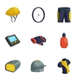 Bike equipment icons set cartoon style vector image vector image