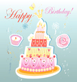 birthday cake and pastries vector image vector image