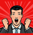 businessman with open mouth in amazement business vector image