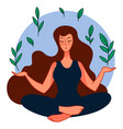 calm female character doing yoga sitting in asana vector image vector image