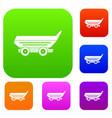 car trailer set color collection vector image