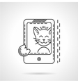 Cat selfie thin line style icon vector image