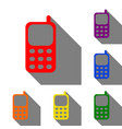 cell phone sign set of red orange yellow green vector image