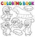 coloring book happy winter penguins vector image vector image