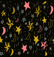 cute seamless pattern with hand drawn moons and vector image