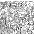 doodle surreal landscape coloring page for adults vector image vector image