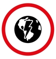 Earth Shock Flat Rounded Icon vector image