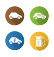 eco friendly cars flat design long shadow icons vector image vector image