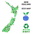 ecology green collage new zealand map vector image