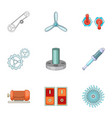 engine parts icons set cartoon style vector image vector image