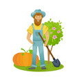 farmer farmland village with gardens greenery vector image
