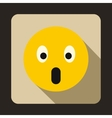 Frightened emoticon with open mouth icon vector image vector image