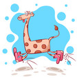 funny cute crazy giraffe jump on the white vector image vector image
