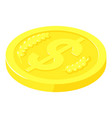 gold coin cent icon isometric style vector image