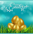 gold eggs on fresh spring grass for easter day vector image vector image