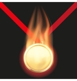 Gold medal with flame vector image vector image