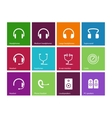 Headphones and speakers icons on color background vector image