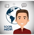 man avatar and social media design vector image