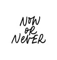 now or never ink pen lettering vector image vector image