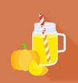 pumpkin smoothie in mason jar glass vector image