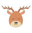 reindeer face celebration merry christmas vector image