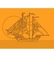 Sailing ship color drawing vector image vector image