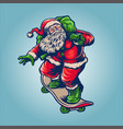 santa claus playing skateboard delivering merry vector image