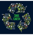 Save earth icons in shape of recycle sign vector image