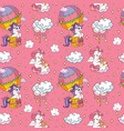 seamless pattern cute unicorns in sky pink vector image
