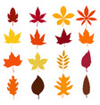 Set of autumn leaves icons isolated on white