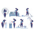 set of cleaning service women vector image