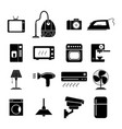 set of electronic home icons black vector image vector image