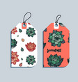 set of gift tags with succulents vector image