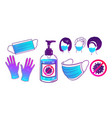 set virus protection items vector image vector image