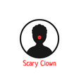 simple black scary clown icon vector image vector image