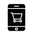 smartphone with shopping cart silhouette icon vector image vector image